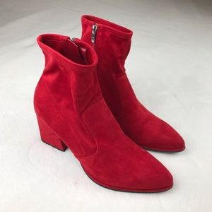 Marc Fisher red suede booties